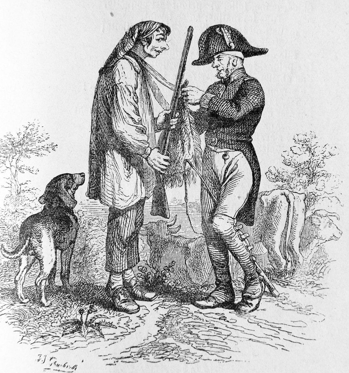 Жан Иньяс Изидор (Жерар) Гранвиль. Пастух и Егерь. Иллюстрации к басням Флориана