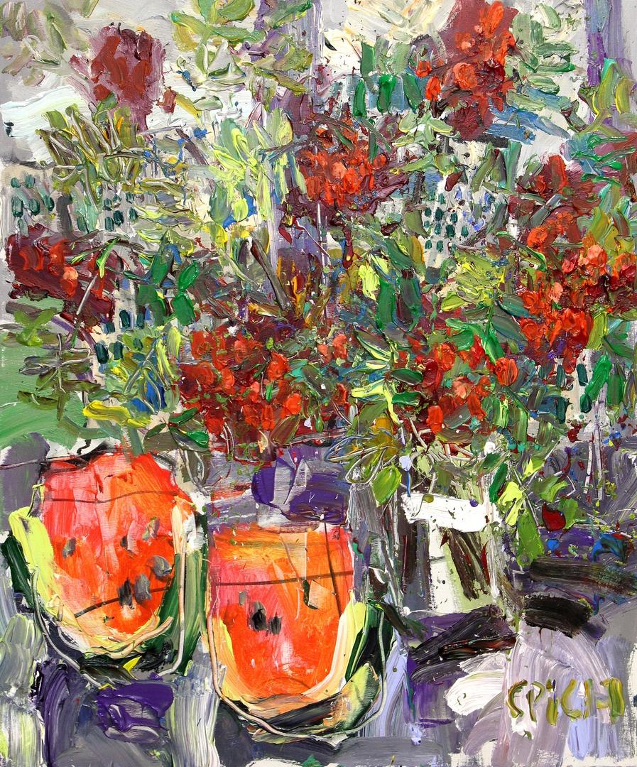 Ilya Pavlovich Spichenkov. Rowan bouquet with watermelon