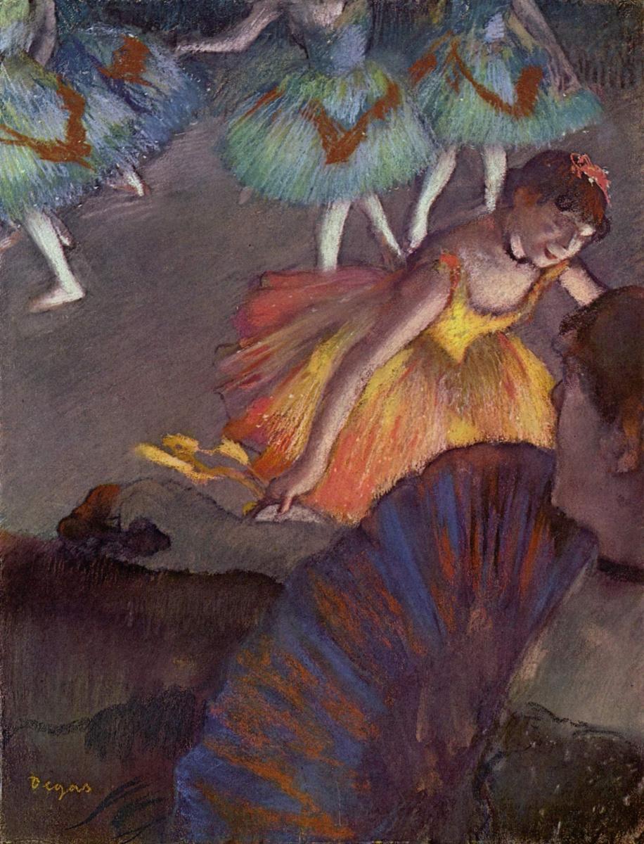 Эдгар Дега. Балетный спектакль -- вид на сцену из ложи