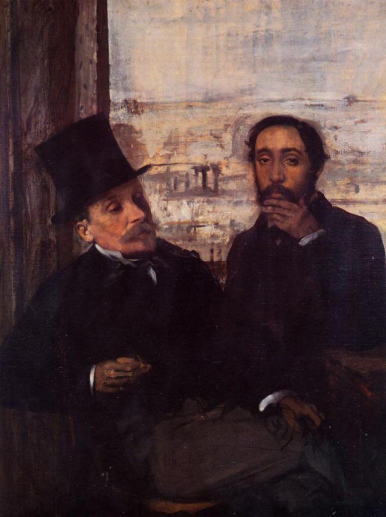 Эдгар Дега. Автопортрет с другом, художником Эваристом де Валерном
