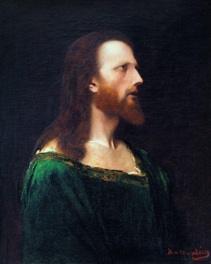 Михай Либ Мункачи. Портрет мужчины в зеленом. Эскиз для изображения Христа