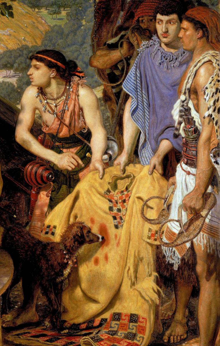 Форд Мэдокс Браун. Сыновья показывают Иакову тунику брата Иосифа, проданного в рабство. Фрагмпент IV
