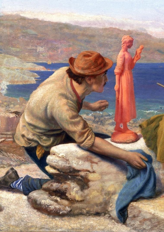 Arthur Hughes. Caring potter. Fragment. Sculpture
