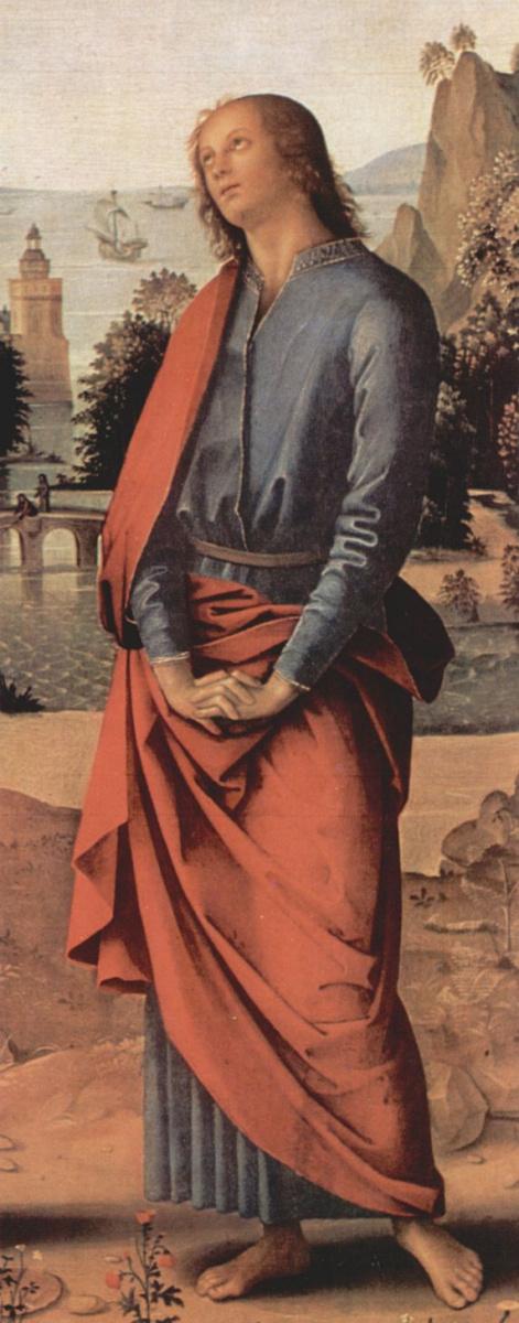 Пьетро Перуджино. Голицинский триптих, центральная часть: Распятие с Марией и св. Иоанном, деталь: св. Иоанн