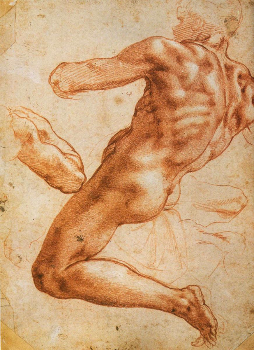 Микеланджело Буонарроти. Этюд с обнаженным (красный мел)