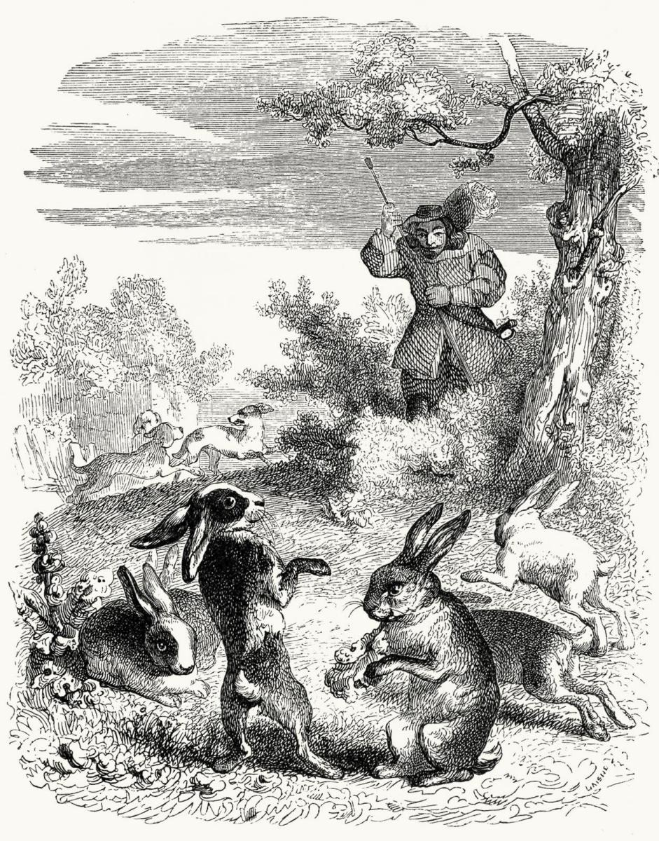 Жан Иньяс Изидор (Жерар) Гранвиль. Охотник и Кролики. Иллюстрации к басням Жана де Лафонтена