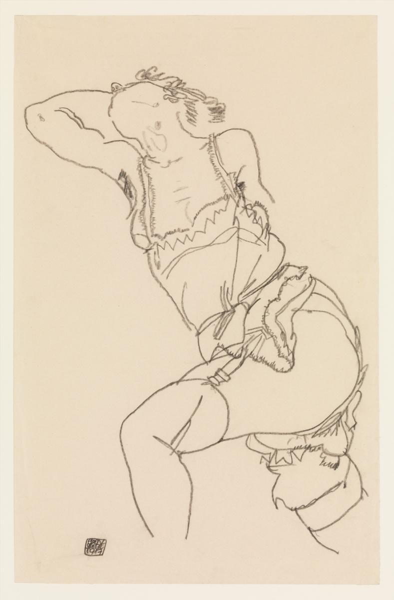 Эгон Шиле. Лежащая модель в сорочке и чулках