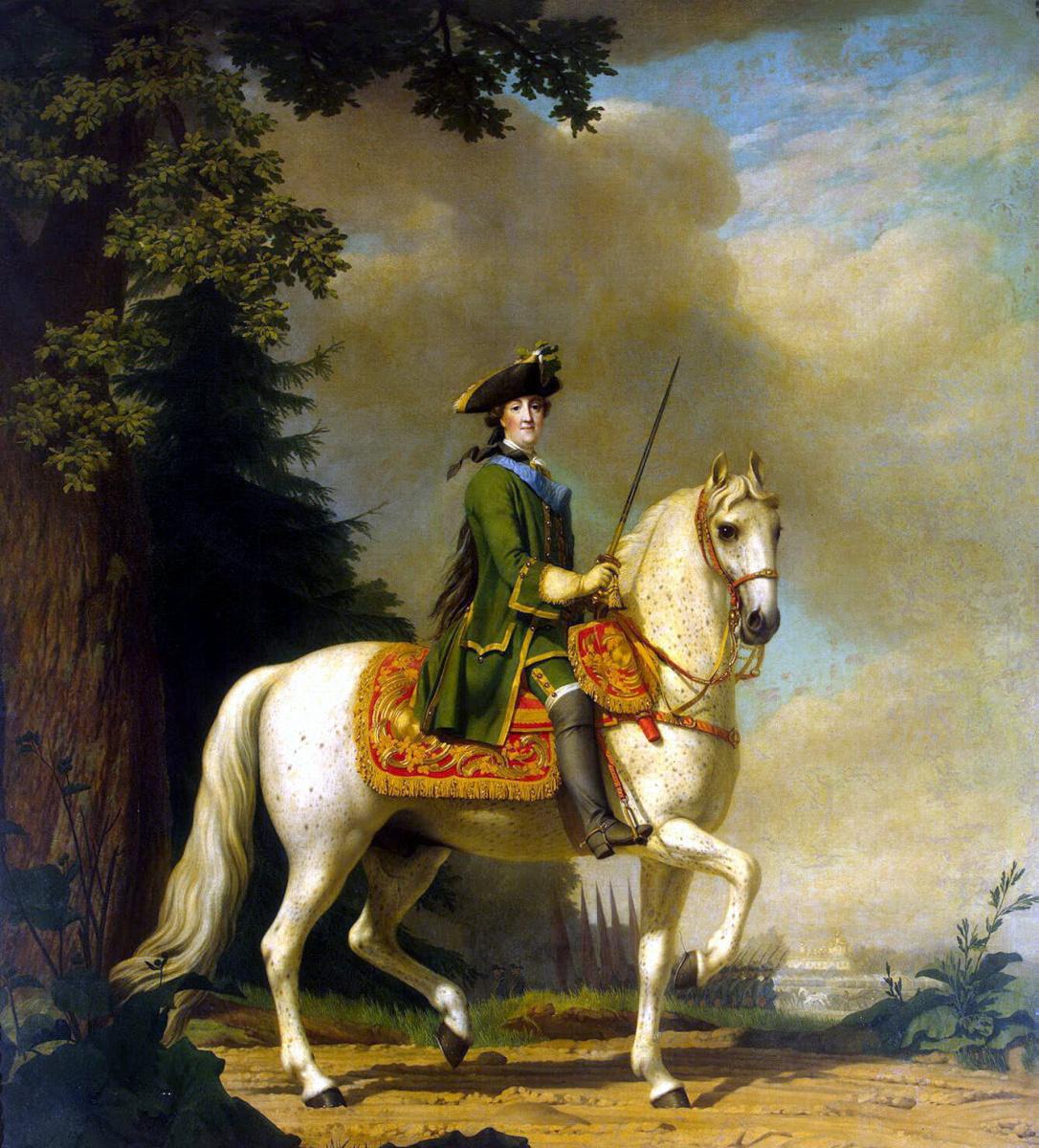 Виргилиус Эриксен. Портрет Екатерины II в гвардейском мундире на коне Бриллианте