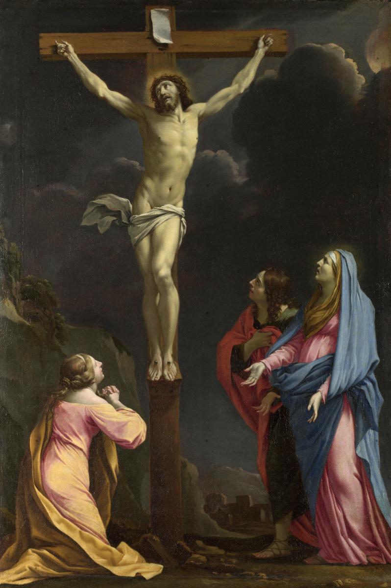 Ле Саер Евстафия. Христос на кресте с девой и святыми