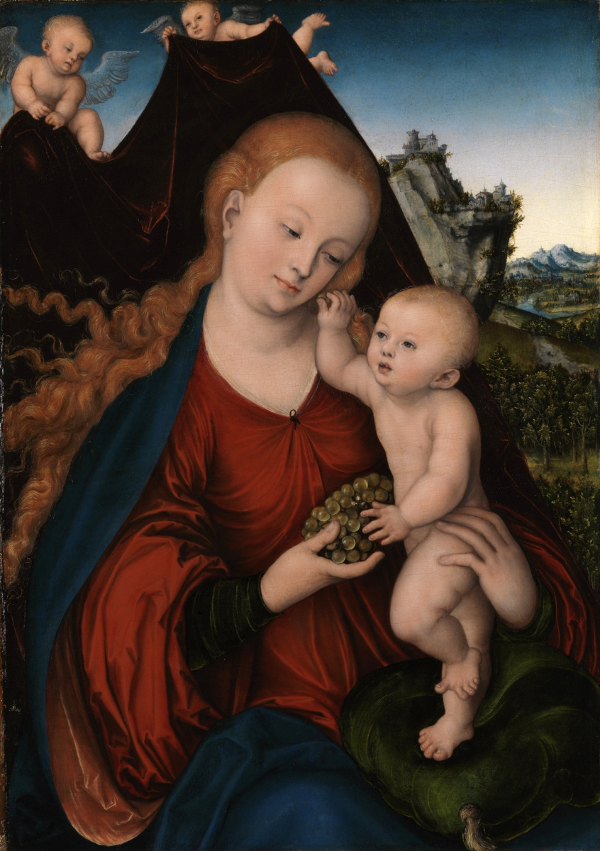 Lucas Cranach the Elder. Madonna and child with a bunch of grapes