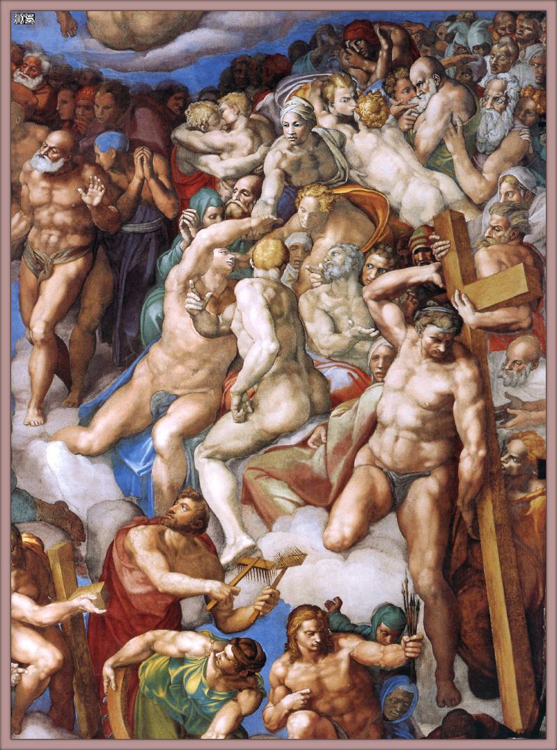Микеланджело Буонарроти. Страшный суд. Второе кольцо персонажей. Правая сторона