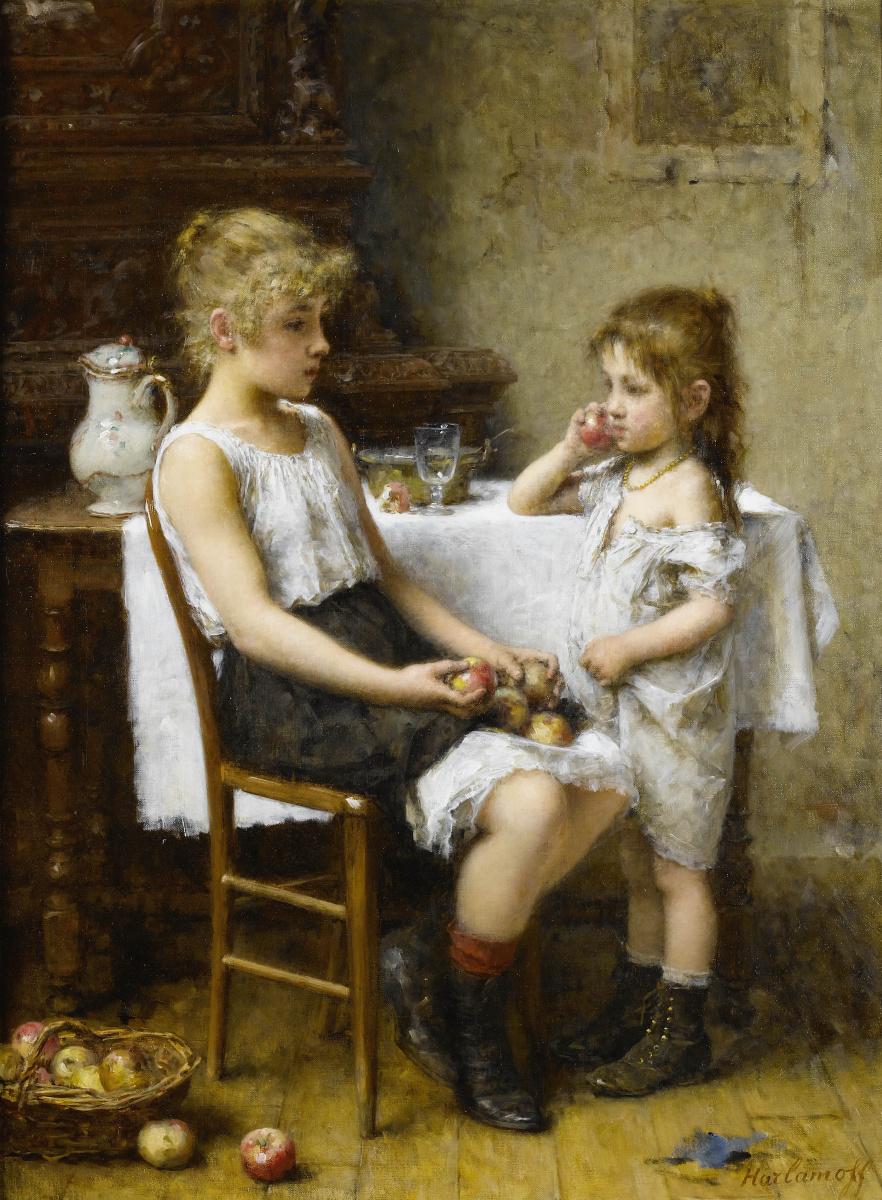 Алексей Алексеевич Харламов Россия 1840 - 1923. Выбирающие яблоки.