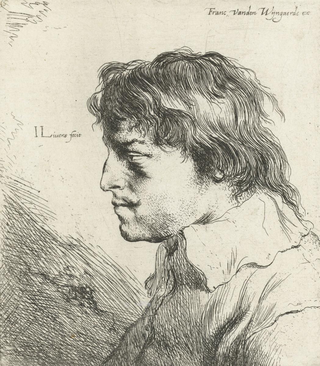 Ян Ливенс. Профиль молодого мужчины с усами