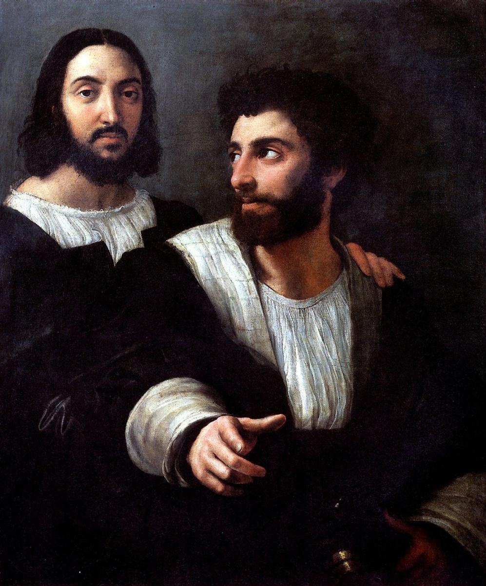 Рафаэль Санти. Двойной портрет / Автопортрет с другом (с Джулио Романо?)