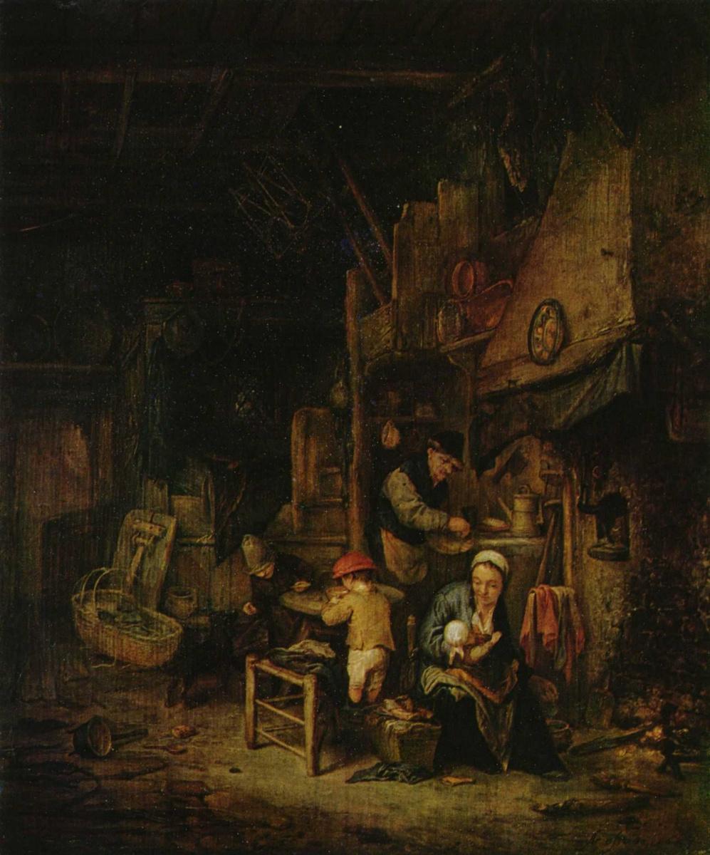 Адриан ван Остаде. Крестьянское семейство в комнате