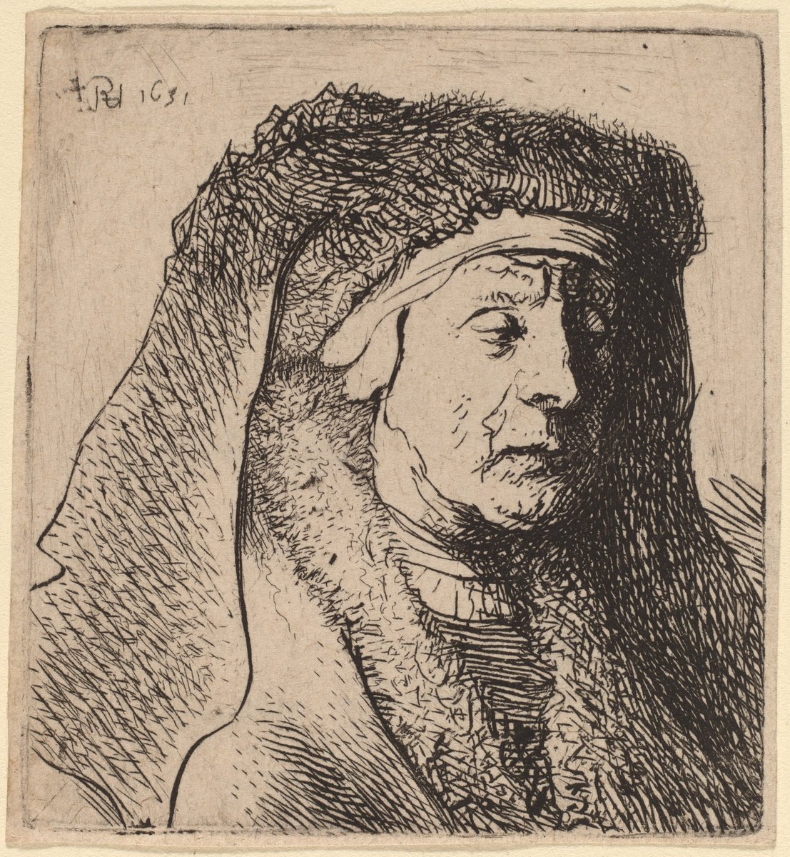 Rembrandt Harmenszoon van Rijn. Bust of an Old Woman in a Furred Cloak and Heavy Headdress