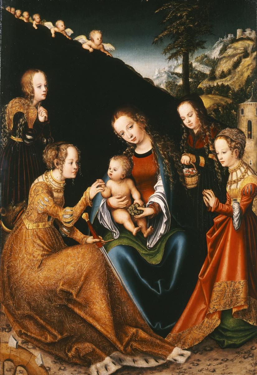Лукас Кранах Старший. Мистическое обручение святой Екатерины Александрийской, со святыми Доротеей, Маргаритой и Варварой