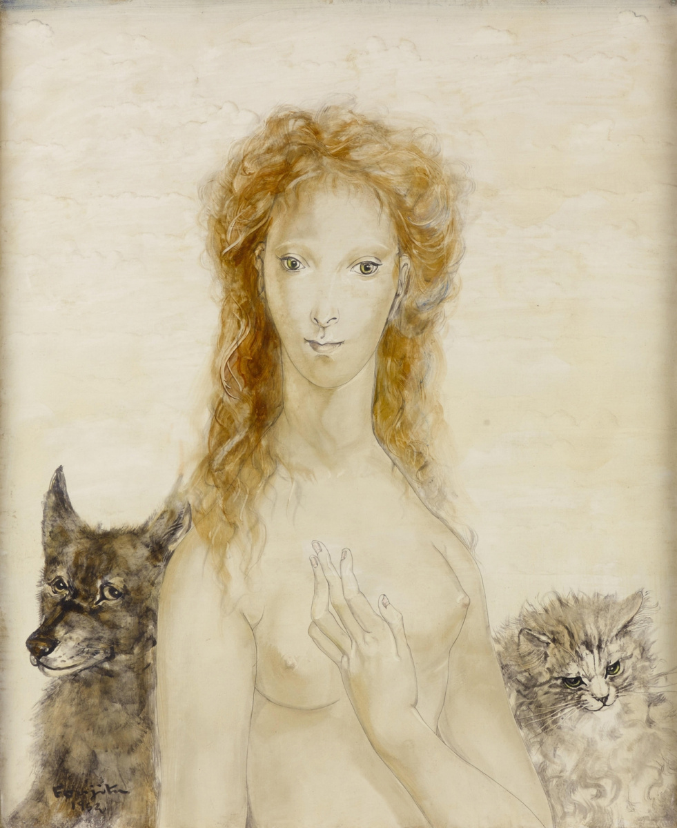 Цугухару Фудзита (Леонар Фужита). Портрет девушки с кошкой и собакой