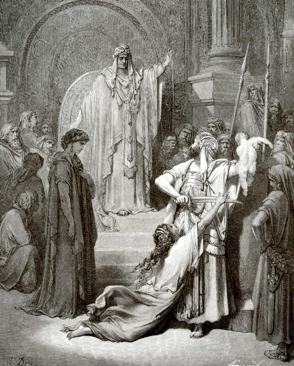 Поль Гюстав Доре. Иллюстрация к Библии: суд царя Соломона