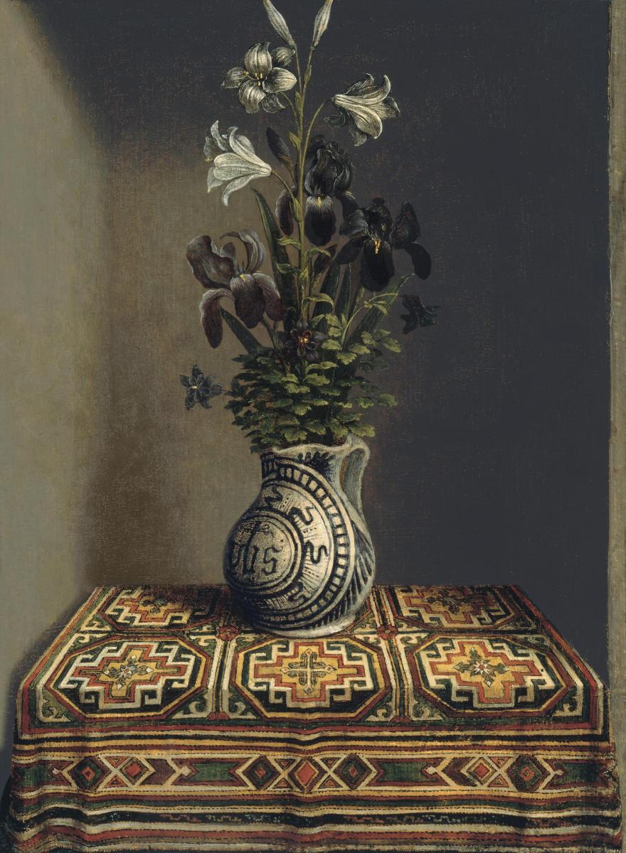 """Ганс Мемлинг. Цветы в вазе (обратная сторона картины """"Портрет молящегося молодого человека"""")"""