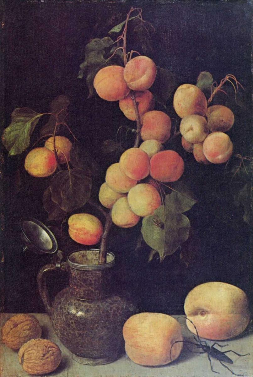 Георг Флегель. Ветка с плодами персика