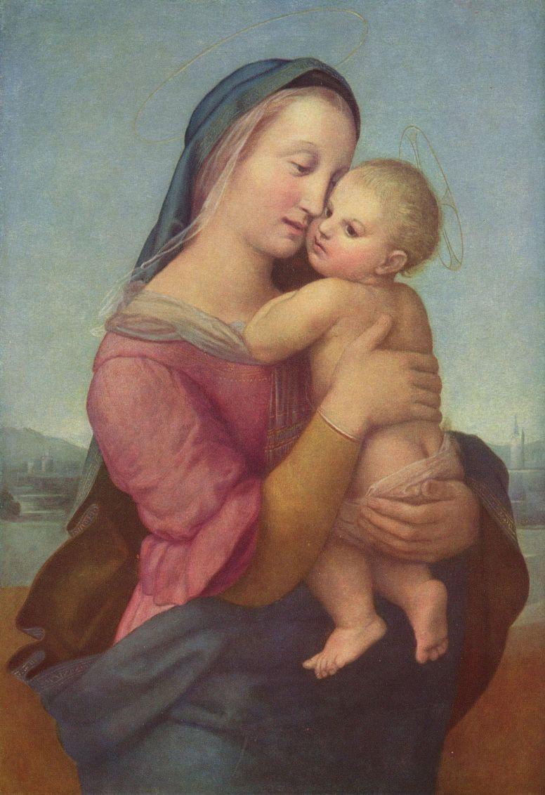 Рафаэль Санти. Мадонна Темпи, сцена: Мария с младенцем Христом