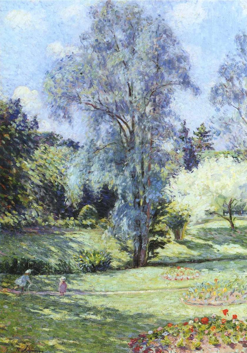 Анри Лебаск. Ребенок играет в саду