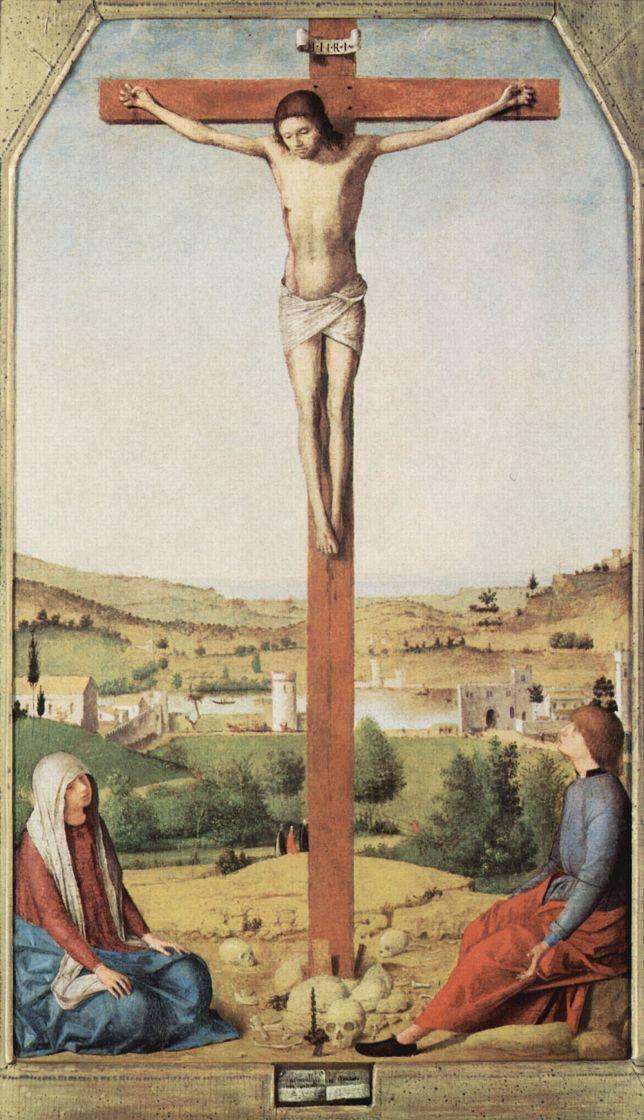 Антонелло да Мессина. Распятие с Марией и Иоанном