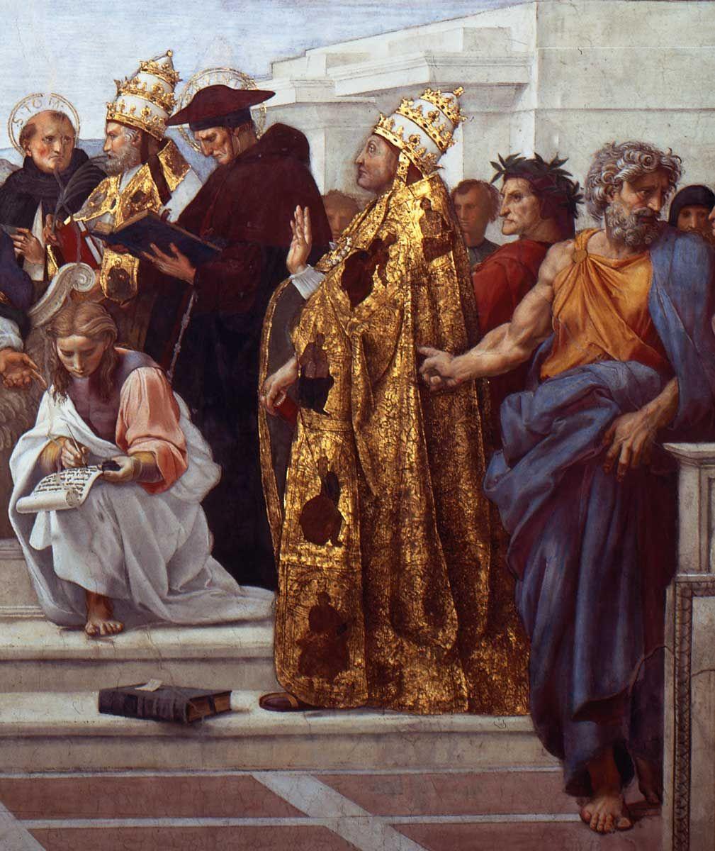 "Raphael Sanzio. The stanza della senyatura. The Fresco ""Dispute"". Snippet: Bonaventure, Pope Sixtus IV"