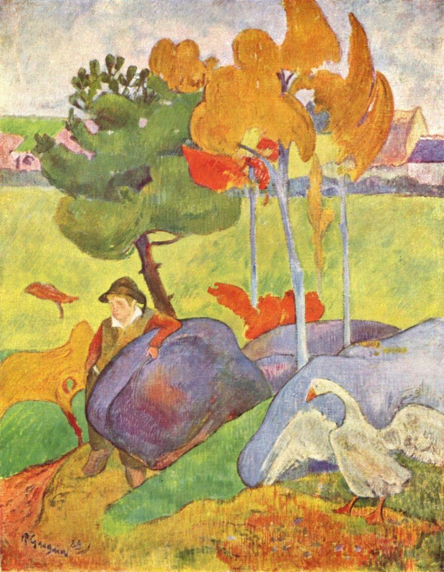 Paul Gauguin. Breton boy with a goose in a landscape