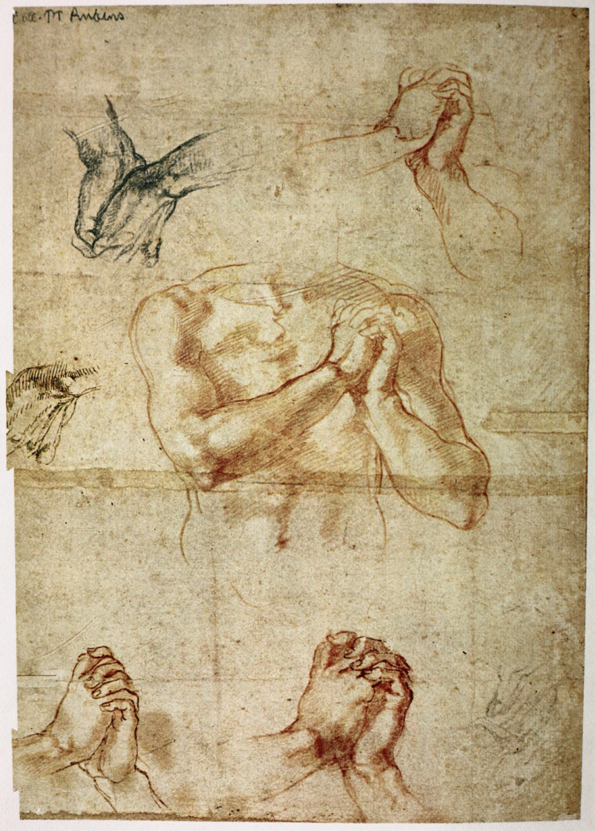 Michelangelo Buonarroti. Male torso with clenched hands and the outline of hands