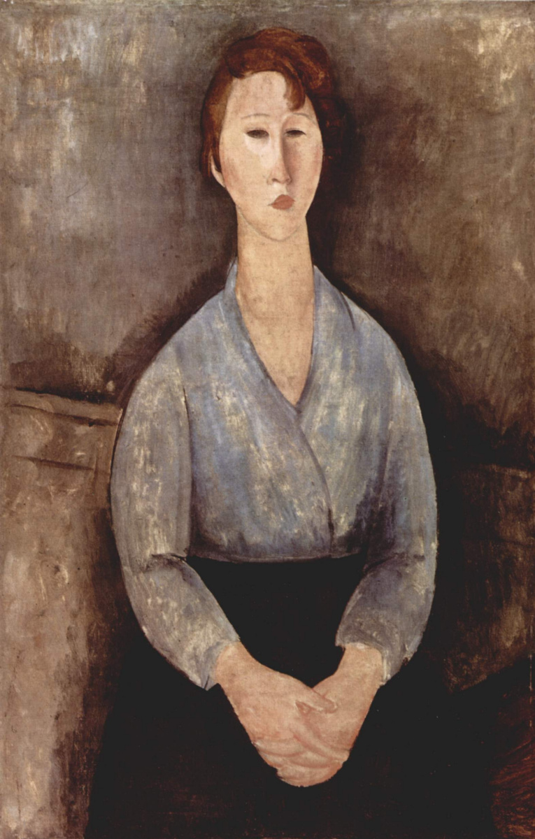 Амедео Модильяни. Сидящая женщина в белой блузе