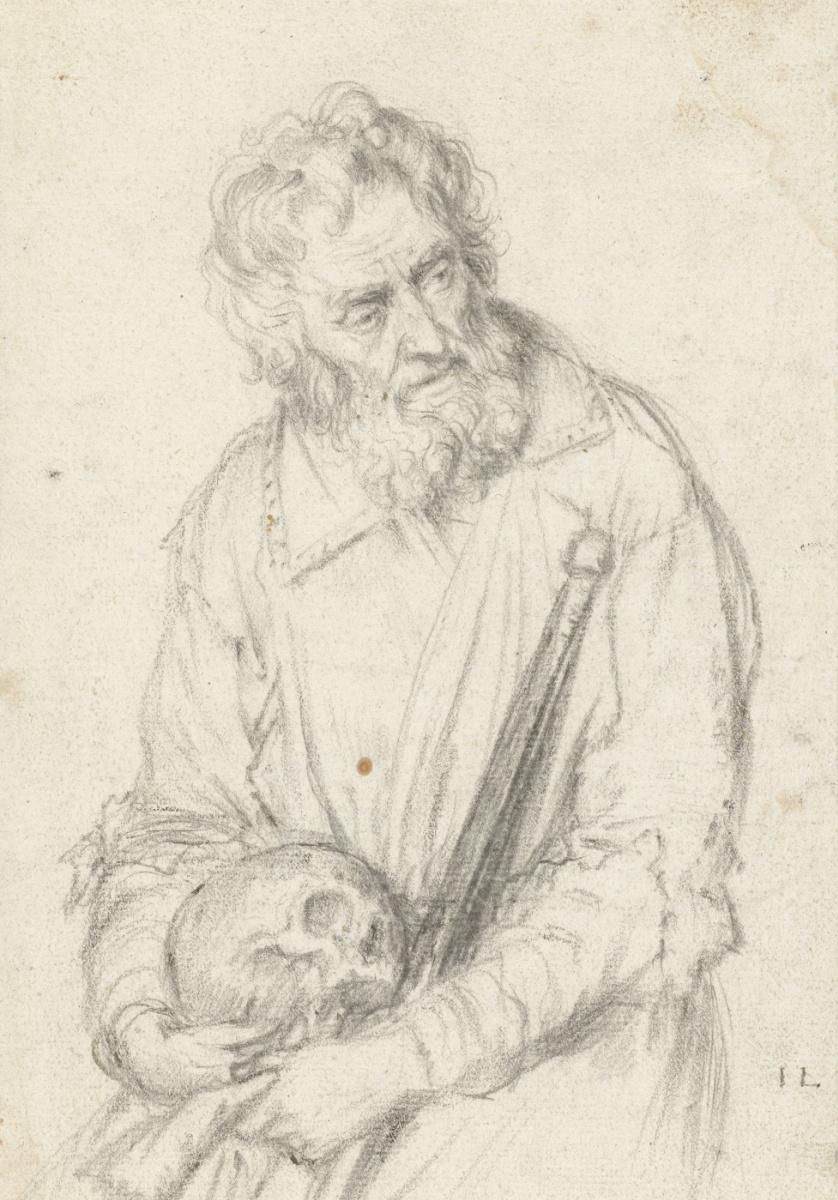 """Ян Ливенс. Старик с черепом и посохом. Эскиз для гравюры """"Отшельник с черепом"""""""