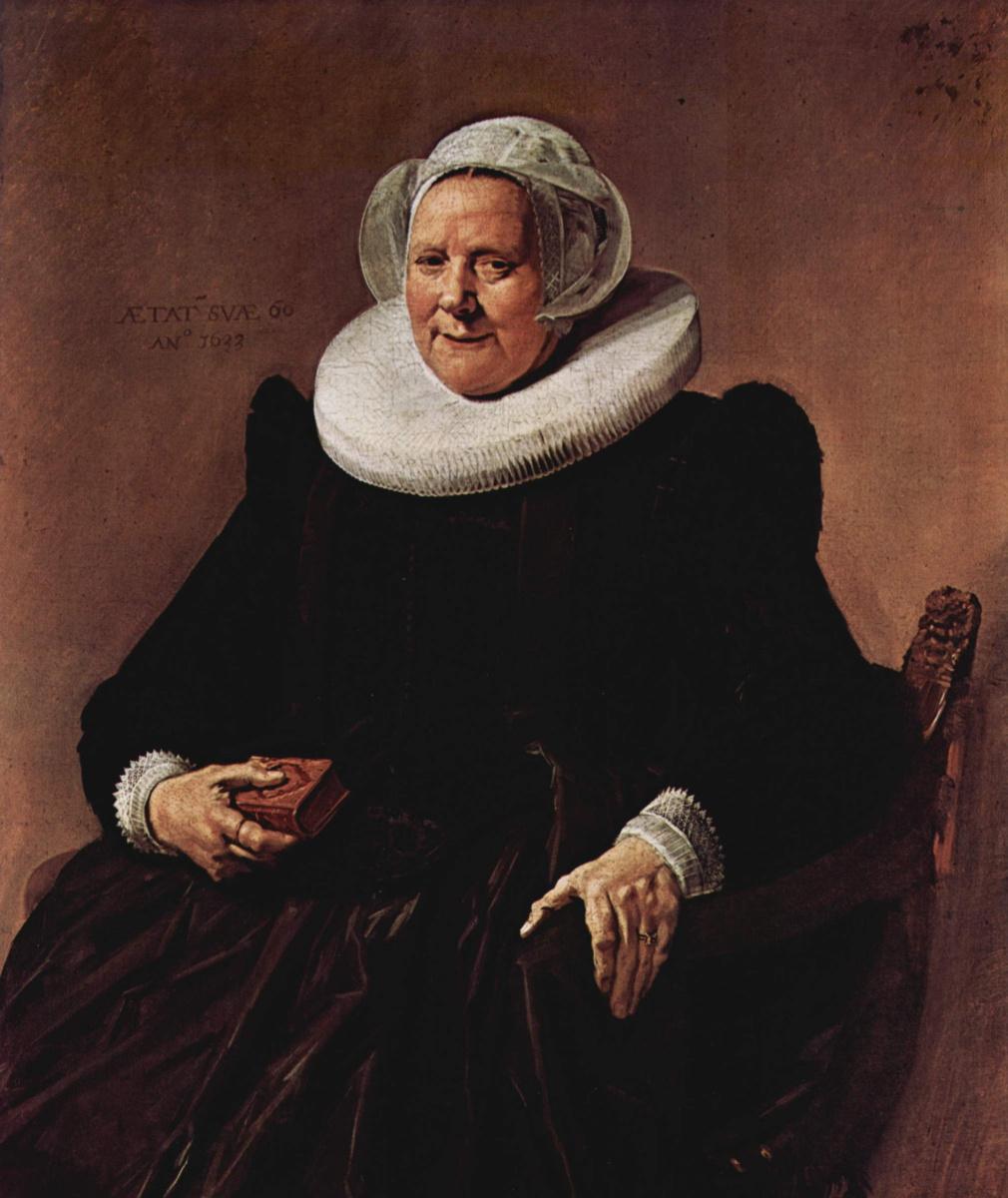 Франс Халс. Портрет шестидесятилетней женщины, сидящей с книгой в правой руке