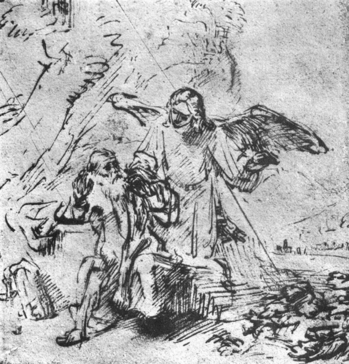 Рембрандт Харменс ван Рейн. Илия и ангел в пустыне