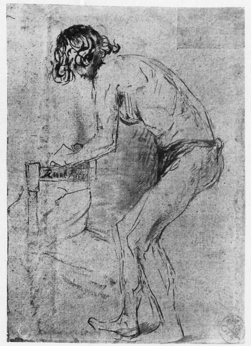 Рембрандт Ван Рейн. Обнаженный натурщик, наклонившийся вперед