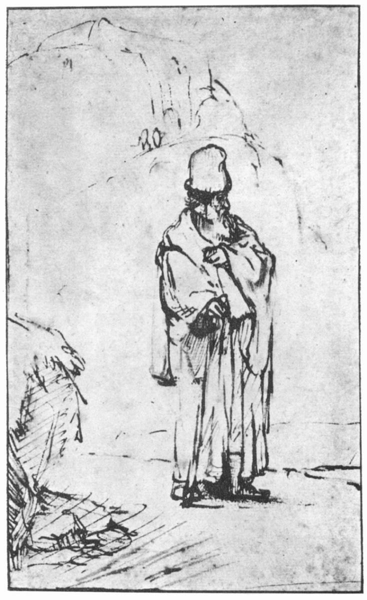 Рембрандт Ван Рейн. Илия перед пещерой в скалах в Хоребе