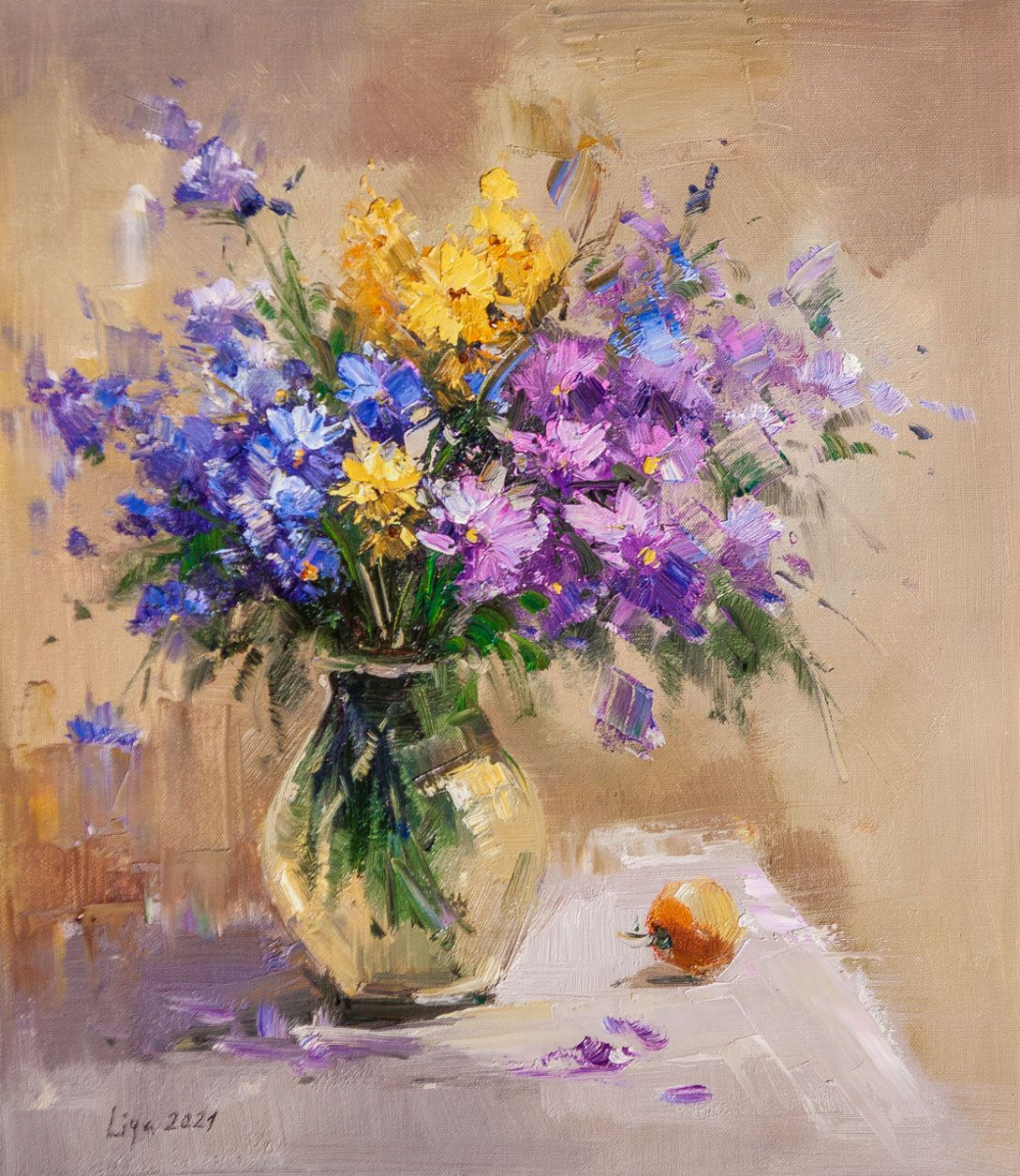 (no name). A bouquet of cornflowers in a glass vase