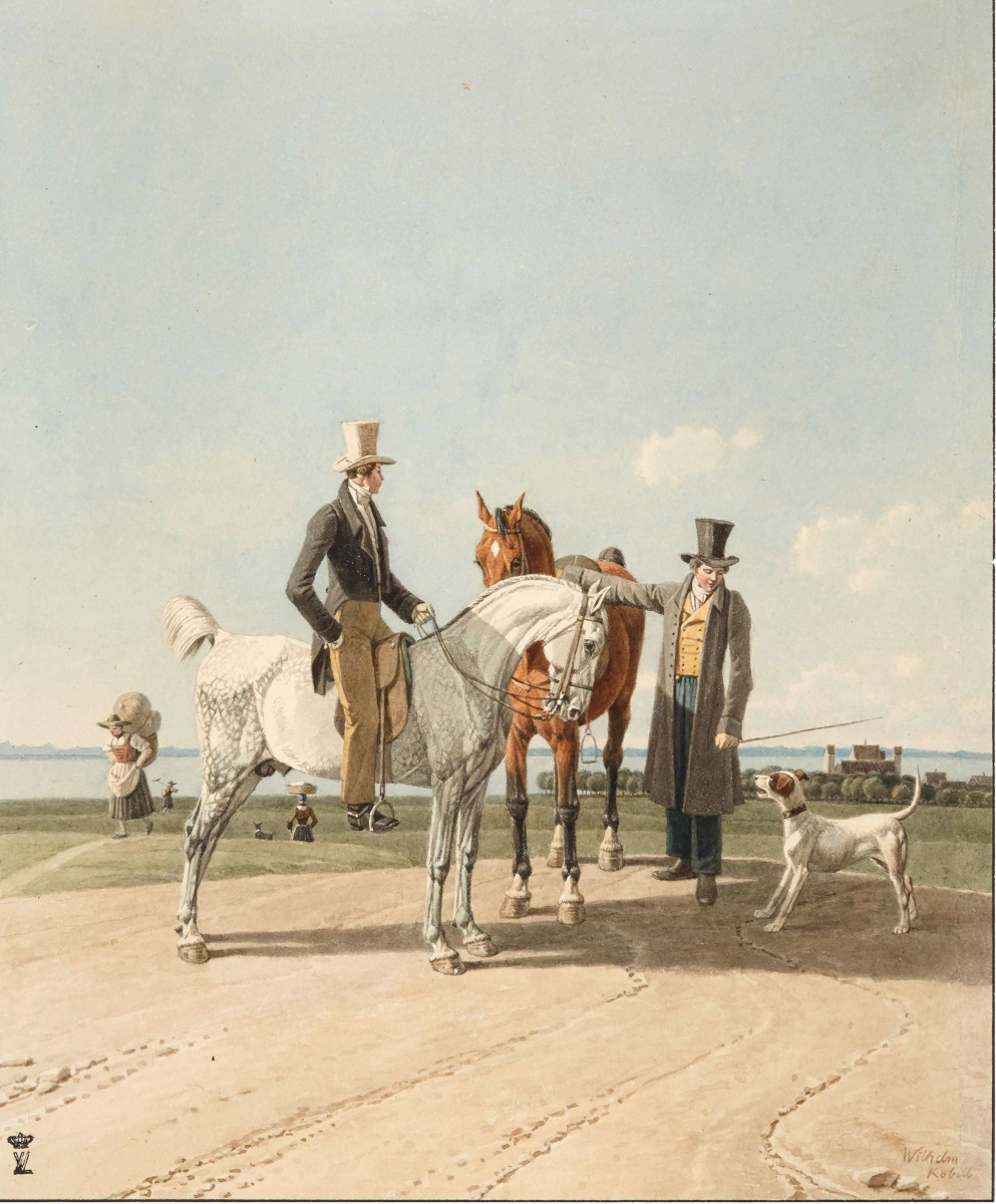 Wilhelm Alexander Wolfgang von Kobell. The rider on the horse in front of the castle Ammerland