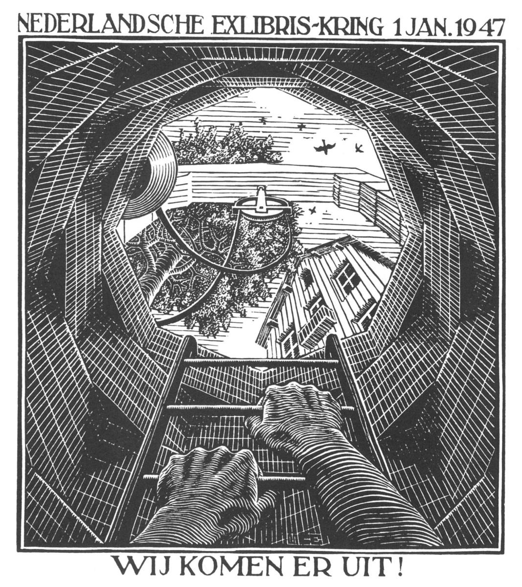Maurits Cornelis Escher. Stairs. Christmas greeting card