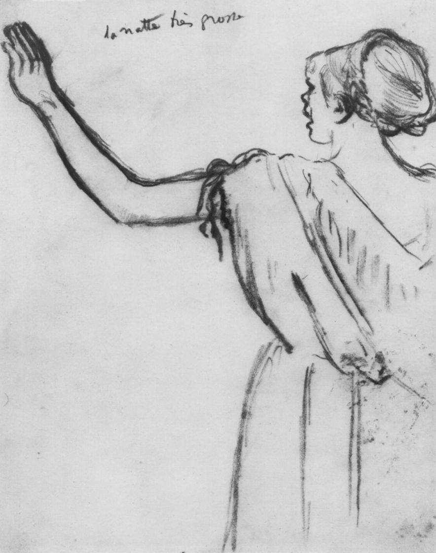 Edgar Degas. The singer Rose Caron with a raised left hand, the figure from the back
