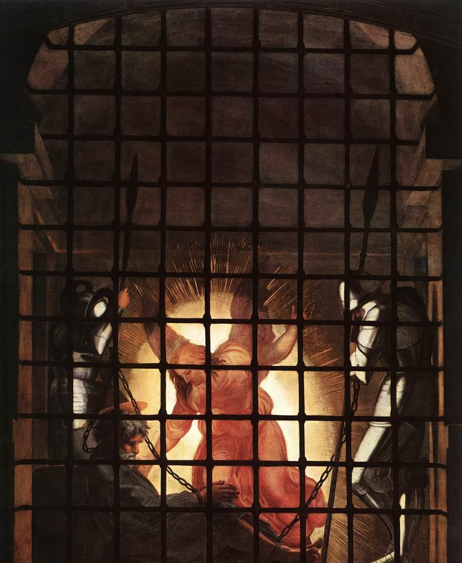 """Рафаэль Санти. Станца д'Элиодоро. Фреска """"Освобождение Святого Петра"""". Фрагмент: Св. Петр и Ангел в темнице"""