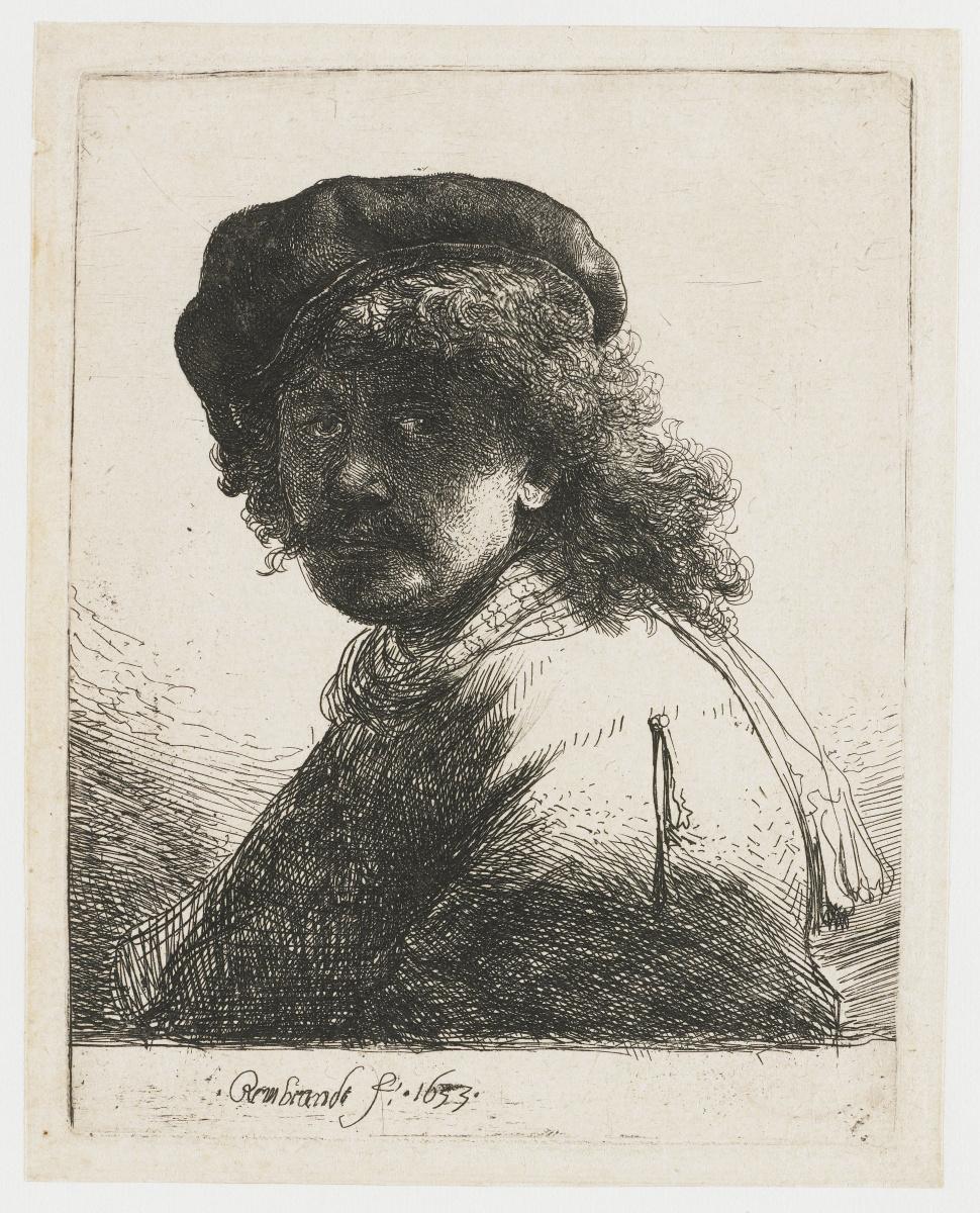 Рембрандт Харменс ван Рейн. Автопортрет в берете и с шарфом