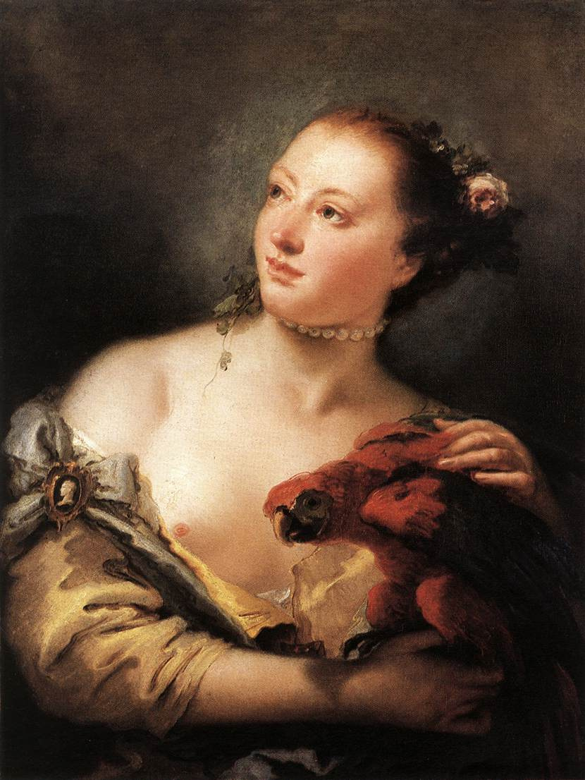 Джованни Баттиста Тьеполо. Женщина с попугаем