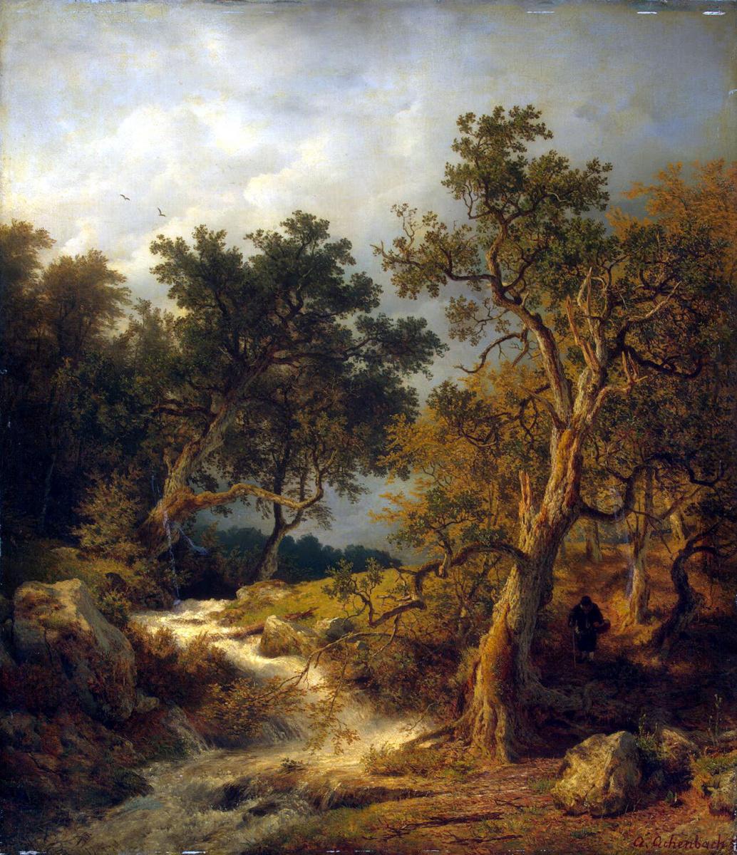 Андреас Ахенбах. Пейзаж с ручьем