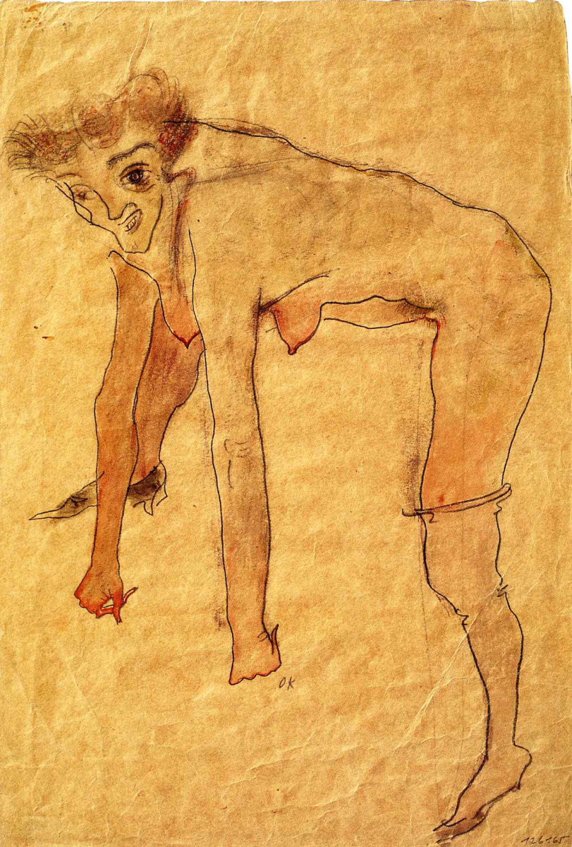 Oskar Kokoschka. Woman in stockings