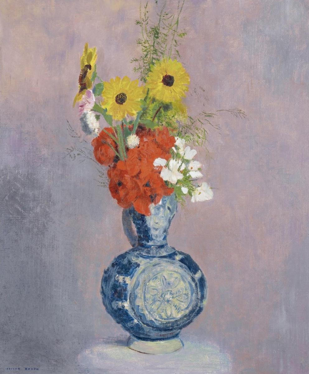 Одилон Редон. Букет цветов в синей вазе