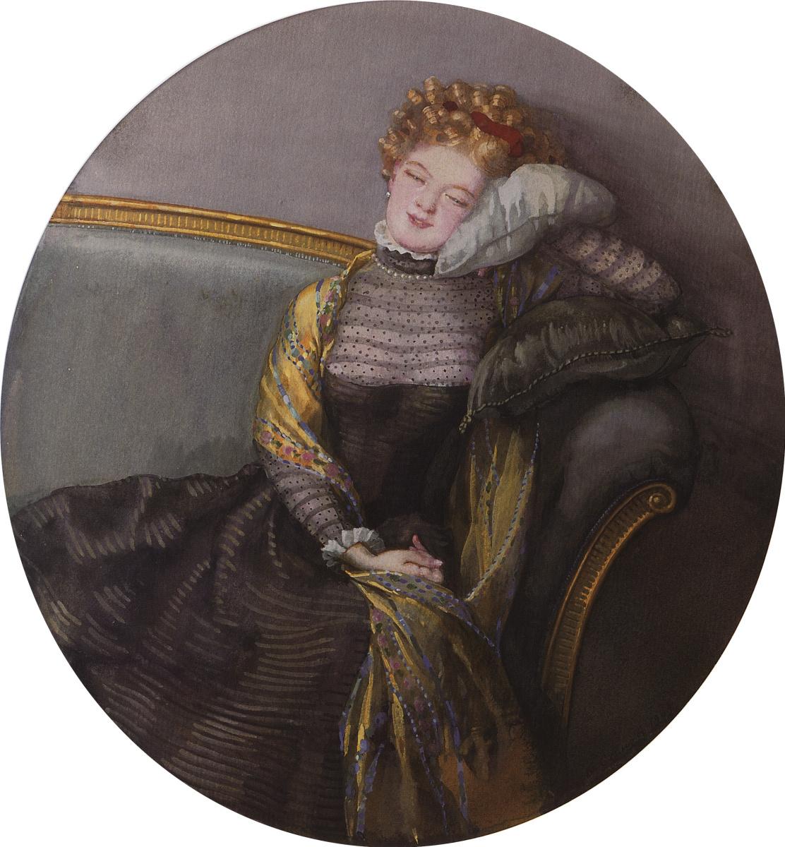 Константин Андреевич Сомов. Дремлющая дама в черном платье