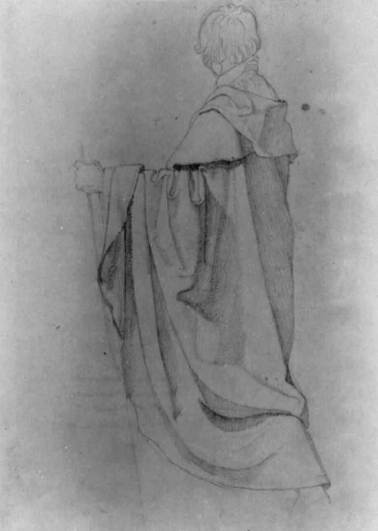Петер фон Корнелиус. Этюд драпировки мужской фигуры с посохом, обращенной влево