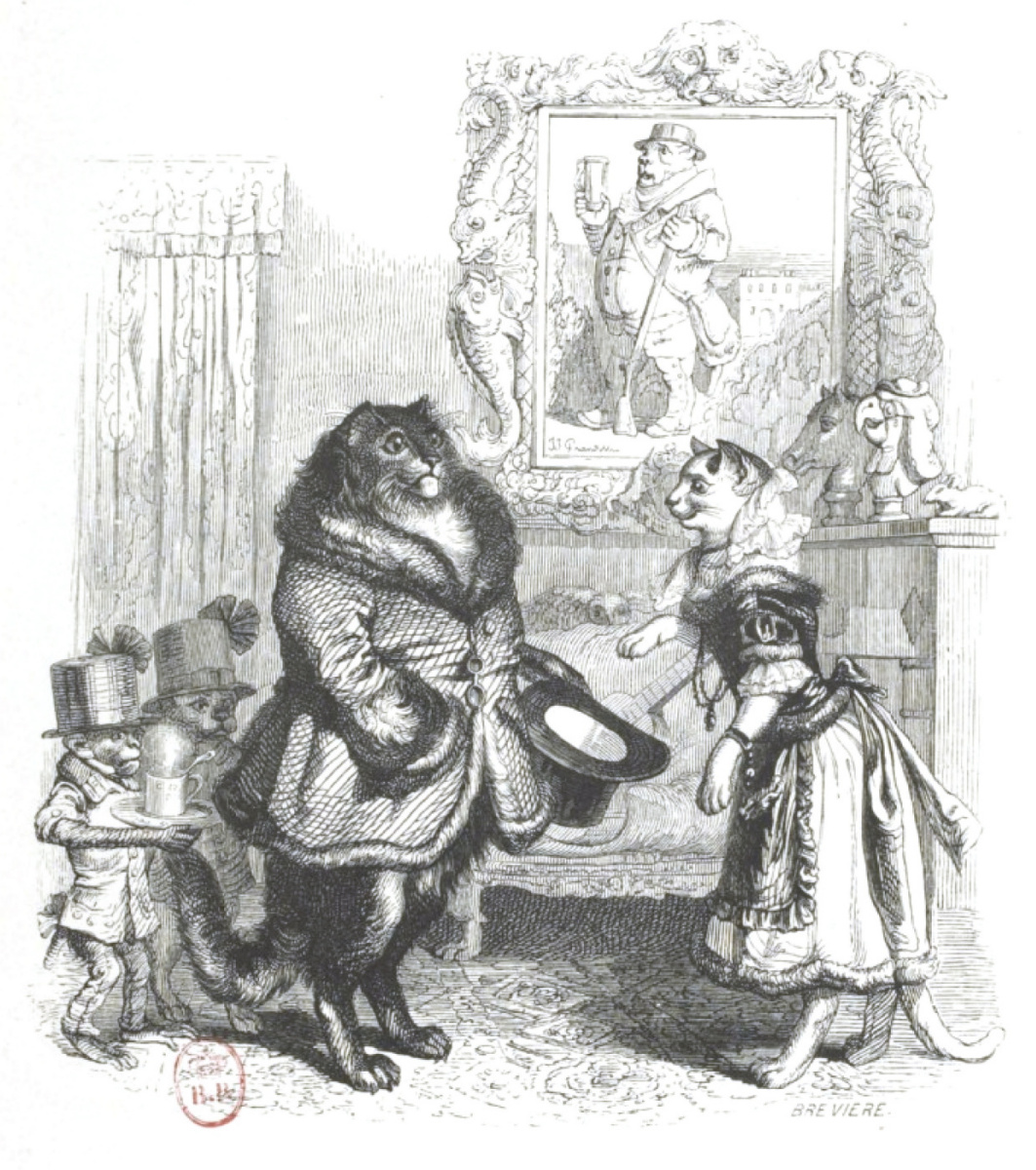"""Jean Inias Isidore (Gerard) Granville. Visit to the matchmaker (I have a wonderful angora in mind). """"Scenes of public and private life of animals"""""""